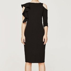 Zara asymmetrical sleeve black slim dress